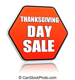 Thanksgiving day sale orange hexagon banner - Thanksgiving...