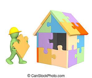 3D, trabajando, títere, edificio, casa