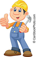 Cartoon Construction worker repairm - Vector illustration of...