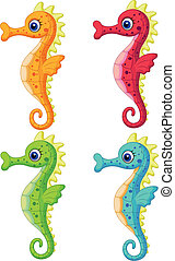 Sea horse cartoon - Vector illustration of Sea horse cartoon...
