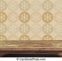 background with vintage table and snowflake pattern