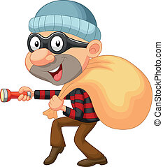 Thief cartoon with sack of money - Vector illustration of...