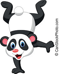 Panda cartoon standing on his hand - Vector illustration of...