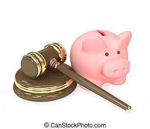 Judicial 3d gavel and piggy bank Objects over white
