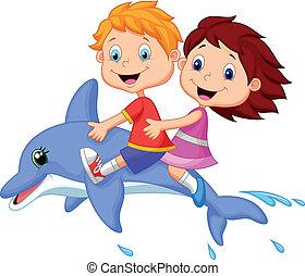 spotprent, jongen, meisje, paardrijden, dolph