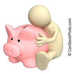 3d puppet, embracing piggy bank - Puppet, embracing piggy...