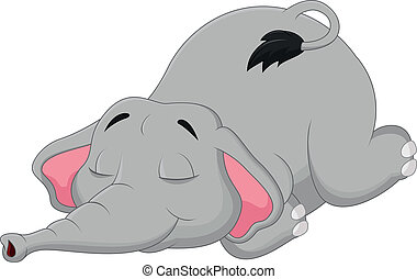 Cartoon elephant sleeping - Vector illustration of Cartoon...