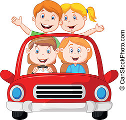 Road Trip with family cartoon - Vector illustration of Road...