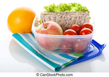 Lunch box on white isolated background - Lunch box with...