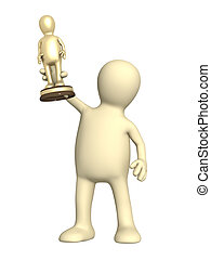 Award - puppet with a gold figurine