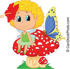 Cartoon Baby fairy elf sitting on m - Vector illustration of...