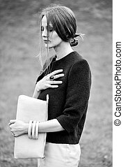 fashion model - black and white woman fashion model outdoor...