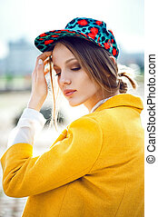fashion model outdoor portrait - woman fashion model outdoor...