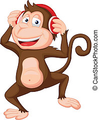 Cute monkey cartoon dancing - Vector illustration of Cute...