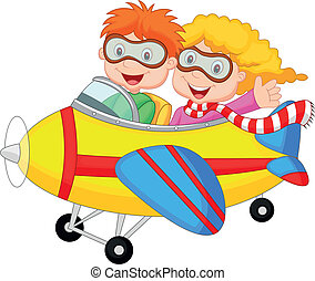 Cute cartoon boy and girl on a plan - Vector illustration of...