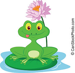 Green frog cartoon sitting on a lea - Vector illustration of...