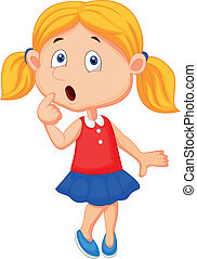 Cute girl cartoon thinking - Vector illustration of Cute...