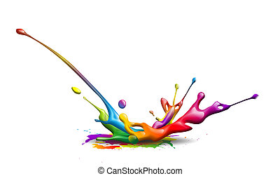 ink splash - abstract illustration of a colorful ink splash