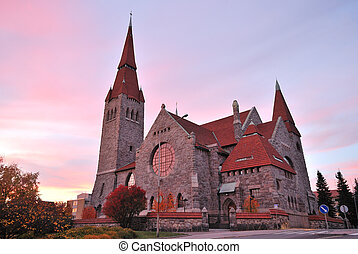Finland.Tampere cathedral at sunset - Tampere, Finland. The...