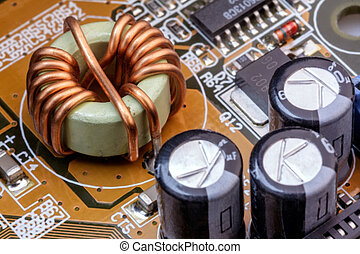 Electronic components on a obsolete printed-circuit board -...