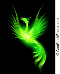 Fire Phoenix - Illustration of green fire Phoenix on black...
