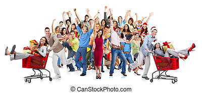 Happy people crowd Christmas shopping sale background