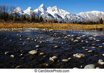 Grand Tetons - Detail of Grand Tetons Mountains with blue...