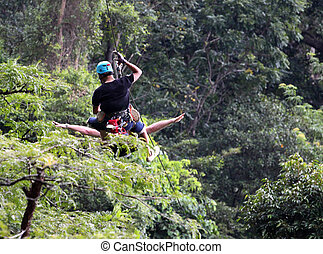 people on rope course or zip line