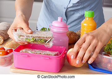 Mother preparing lunch box - Mother preparing for her...