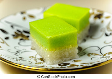 Malay Traditional Dessert - Seri Muka on a fancy plate -...
