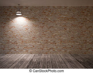 Poster in room on a brick wall with lamp