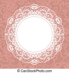 Elegant doily on lace gentle background Scrapbook element