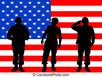 Military flag - Vector drawing of a soldier in uniform with...
