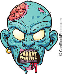 Zombie head - Cartoon zombie head. Vector clip art...