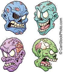 Zombie heads - Cartoon zombie heads Vector clip art...