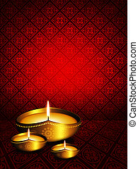 oil lamp with diwali greetings over dark background - oil...