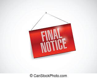final notice hanging banner illustration