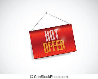 hot offer hanging banner illustration design