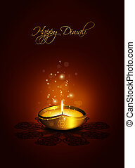 oil lamp with plac for diwali greetings over dark background...