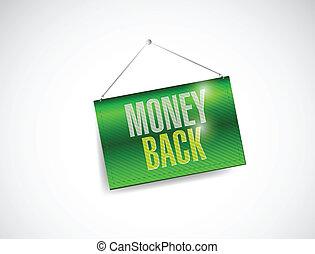 money back hanging banner illustration