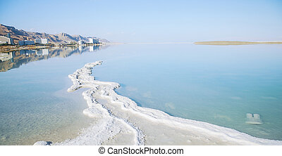 mineral salt on the shore of the Dead Sea