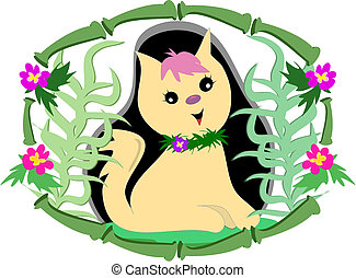 Tropical Cat in Bamboo and Flower Frame