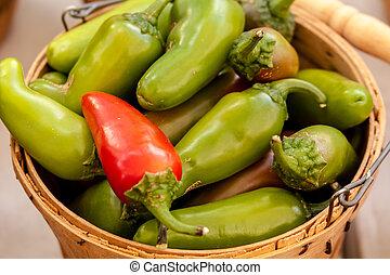 Farmers Market - Close up of bushel basket full of fresh...