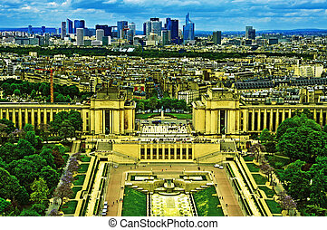 Paris, France - aerial view of Paris, France, with Jardins...