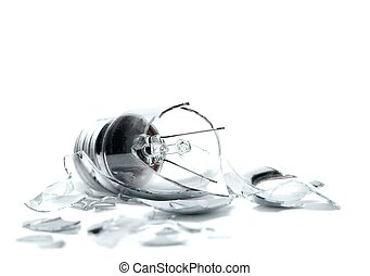 Broken lightbulb on white background