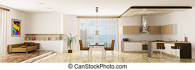 Interior of apartment panorama - Interior of apartment...
