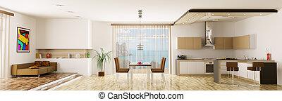 Interior of apartment panorama - Interior of apartment...