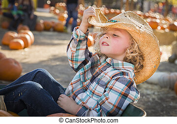 Little Boy in Cowboy Hat at Pumpkin Patch - Adorable Little...