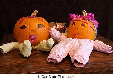 Pumpkin Babies in Onesies Wide Angle - Two pumpkins dressed...
