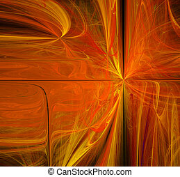 abstract orange and yellow fractal background techno style